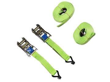 2 x 25mm x 5 metre High Visibility RATCHET LASHING STRAPS MBL 0.8kgs Claw Hook